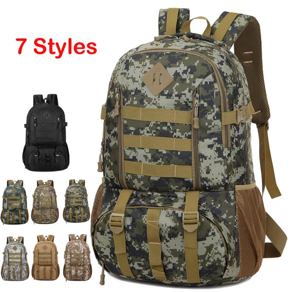 7 Styles Tactical Backpack Camo Outdoor Backpack Travel Bags Mountaineering Camping Hunting Bag Military Assault Rucksack for Men M39F