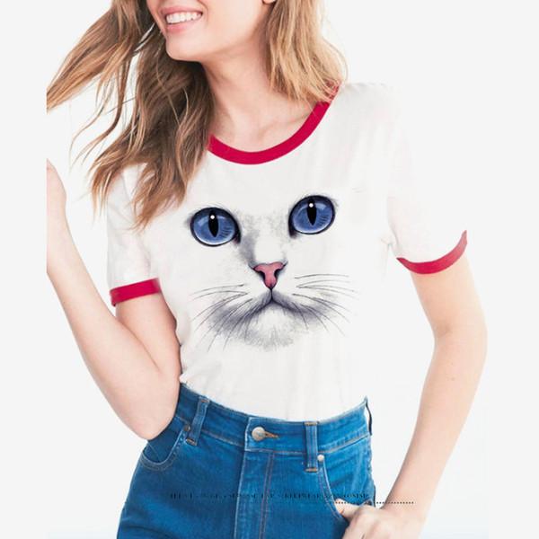 2019 trendy Summer new cartoon cat eyes print short sleeve round ladies T-shirt for women short Sleeved T Shirt vest vogue Tee face