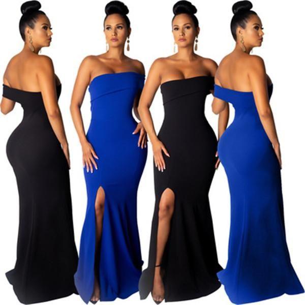 Frauen Sommerkleid Stretch Sexy Party Kleider Einfarbig Dünn Club Tube Top Maxi Verband Bodycon Abendkleider Kleidung 2 Arten S-XL