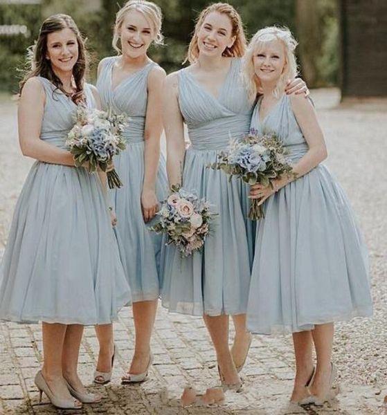 Tozlu Mavi Şifon Çay Boyu Ülke Gelinlik Modelleri Artı Boyutu Plaj Düğün Konuk Abiye Onur Hizmetçi Örgün Parti Elbise Özel
