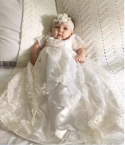 High Quality Full Lace Short Sleeves Ivory Toddler Infant Baptism Dresses Newborn Baby Girls First Communion Gowns with Hat 122