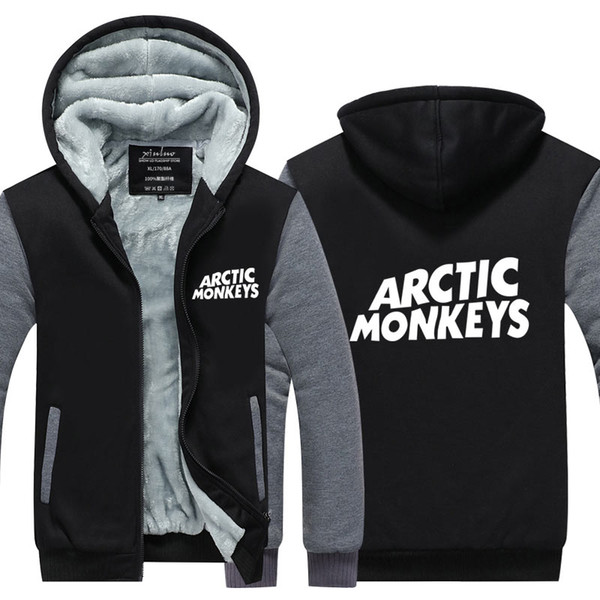 Arctic Monkeys Rock Music Band Print Sweatshirts Winter Cashmere Hoodie Zipper Jacket Leisure Sweatshirts Thicken Cardigan Coat USA EU Size