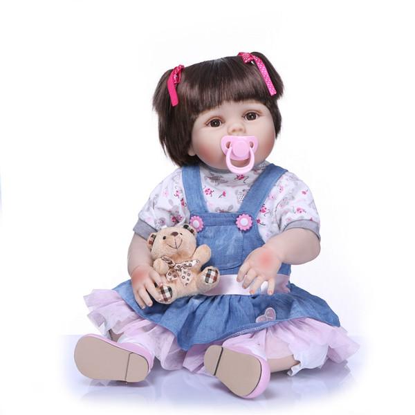 Bebe Reborn New Real 56CM Full Body Silicone Girl Reborn Babies Doll Adorable Lifelike Toddler Baby Kids Playmates Toys