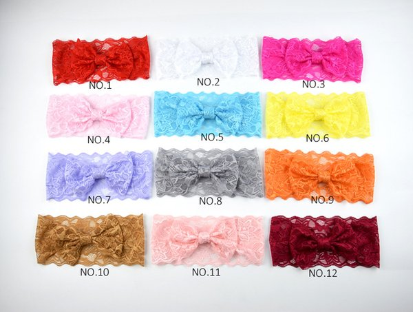 Baby Girls Lace Bowknot Headbands Kids Bow Headwrap Lace Bow Hairbands Solid Color Childrens Hair Accessories 12 Colors