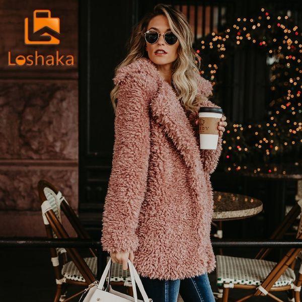 Loshaka Kadınlar Kış Ceket Kaban Faux Kürk Bombacı Ceket Teddy Coat Trençkot Yün Pembe Palto Uzun Kollu Kapşonlu Dış Giyim