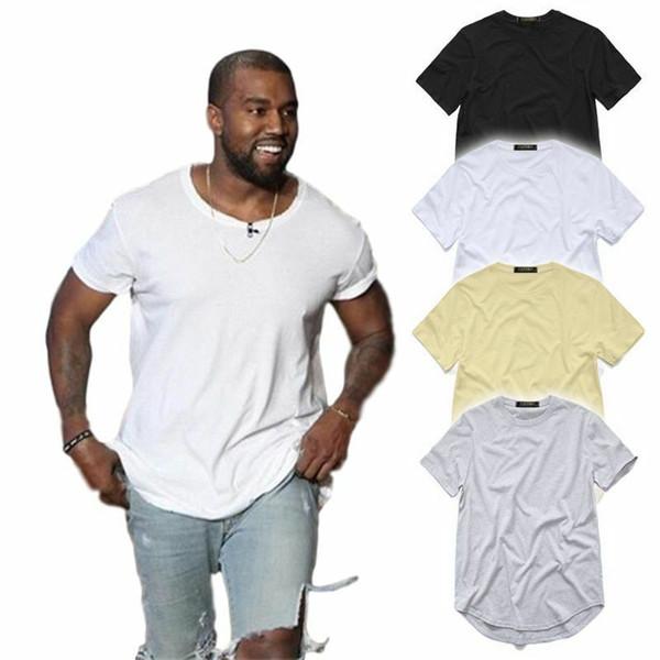 Camisa de T dos homens Kanye West Estendido T-Shirt Roupas masculinas Bainha Curvada Longa linha Tops Tees Hip Hop Urbano Em Branco Justin Bieber Camisas MMA1758