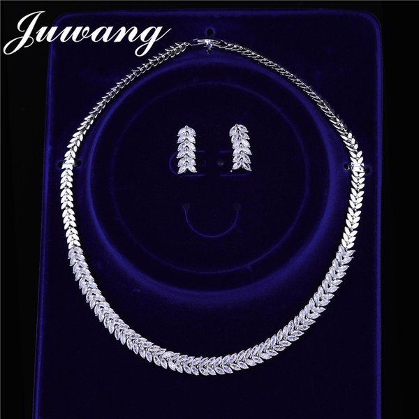 JUWANG   Bridal Jewelry Sets For Brides Cubic Zirconia Crystal Simplicity Earrings And Necklace Jewelry Sets Gift