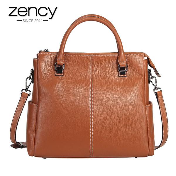 Zency 100 Real Cow Leather Handbag Fashion Brown Lady Casual Tote Bag Elegant Female Crossbody Messenger Purse Shoulder Bags