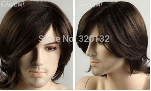 FREE SHIPPING+ + Dark Brown Cosplay Hair Men's Wig Pop Art Men Short Male Man Queen Fiber no lace Front hair Wigs