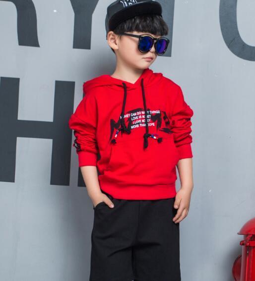 2019 erkek Çocuk Setleri Çocuk Bebek 2-9 yıl en iyi satan yeni sonbahar erkek gömlek kazak kapüşonlu ceket erkek spor kapüşonlu elbise 3 renk boyutları boif434 4o