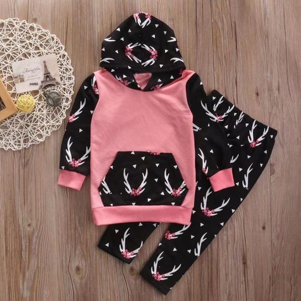 Navidad con encanto bebé de los equipos para bebé niña con capucha Abrigos Pantalones 2pcs sistemas de manga larga recién nacido juego de ropa Trajes de niño lindo Ropa de bebé