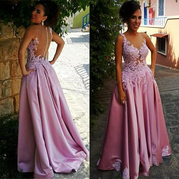 Sheer Neck Evening Dresses with Lace Appliques A Line Floor Length Prom Dress See Through Backless Covered Buttons Party Gowns