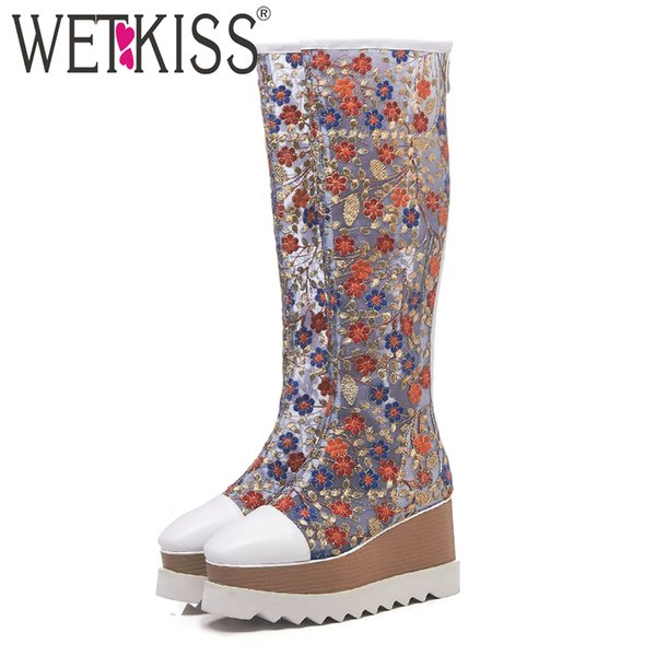 WETKISS Knee High Summer Boots White Women Wedges Platform Boots High Heels Shoes Female Embroider Mesh Cow Leather Shoes Woman