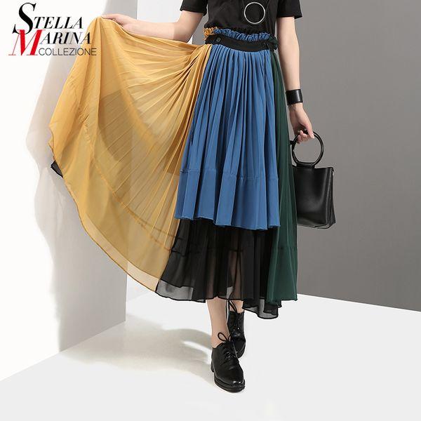 Yeni 2019 Yaz Renkli Kadınlar Patchwork Stil Pileli Şifon Etek İmparatorluğu Ayak Bileği Uzunluk Kızlar Gündelik Giyim Gevşek Etekler 3527 Y19072301