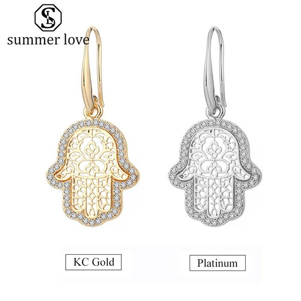 High Quality Hand Dangle Earring for Women Girls Crystal KC Gold Platinum Drop Earring Fashion Party Jewelry