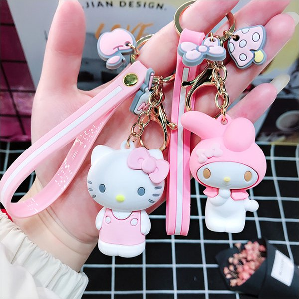 Cartoon Cute Key-Chian Hello Kitty Doll KT Cat Keychains Women Girls Charm Bags key chain Accessories Pendant Car New Key ring