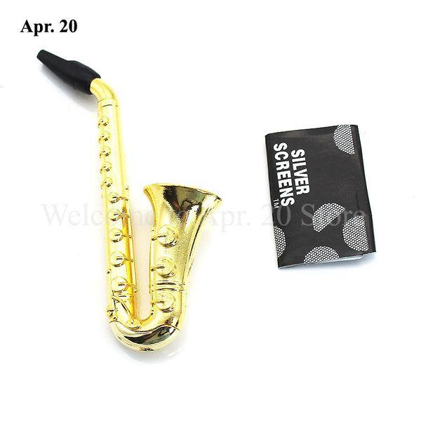 Whloesale Mini Saxophone Design Pipes Smoking Handle Spoon Cigarette Holder Dry Herb Smoke Tool Good Quality MP020