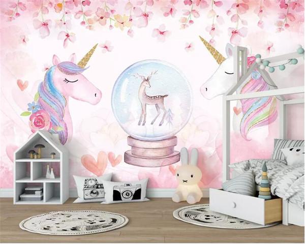 Personalizado 3d papel de parede aquarela unicórnio arte mural vida quarto corredor crianças quarto fundo foto papel de parede atacado