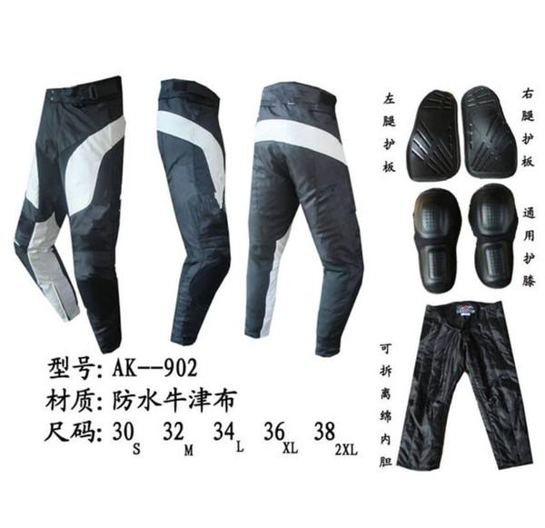 Yeni Varış Motosiklet yarış sürme pantolon AK 902 Su Geçirmez oxford bez Motocross Diz ve bacak ProtectoH Ile Koruyucu pantolon