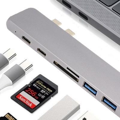 USB C Hub 7 in 1 Aluminum Type C Adapter Multi-Port Thunderbolt 3 with USB 3.0 Port, 4K USB C to HDMI, Micro SD/TF Card Reader 100W Power