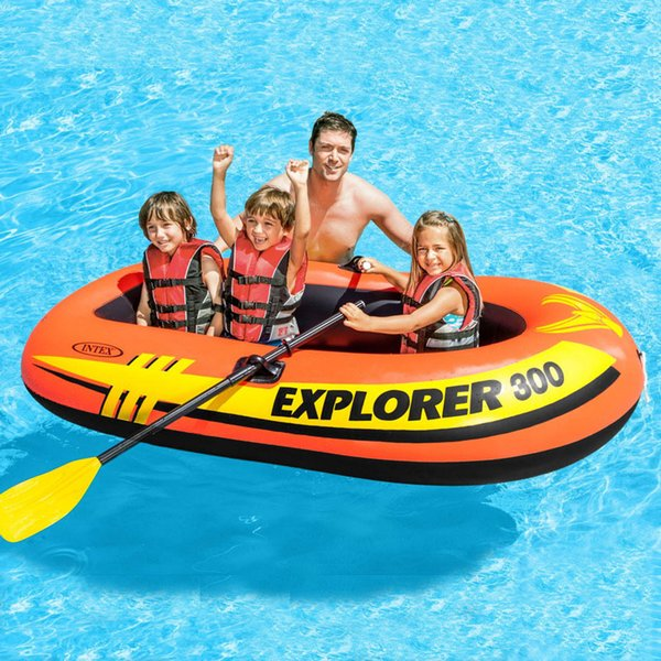 INTEX Explorer 58332 Inflatable Fishing Boat 1-3 Person Use Rubber Rowing Boat Thickening Water Amusement With Oars Pumps