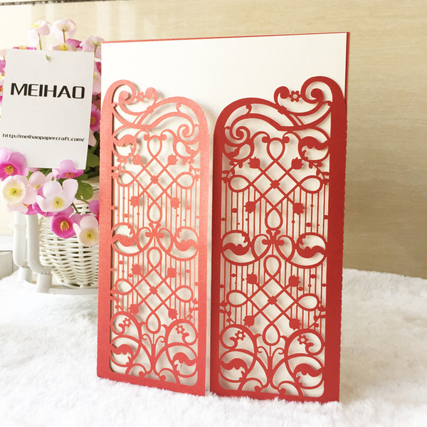 35Pcs / lot Hollow Laser Cut Carnival Fancy Dress Party Wedding Invitation Cards Envelope Decoration House Moving Ceremony