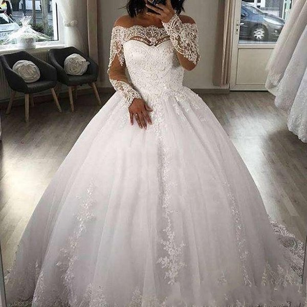 Puffy saia princesa vestido de baile vestidos de casamento 2019 apliques de renda Bateau mangas compridas vestido de noiva árabe do vintage vestidos de novia AL2022