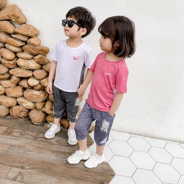 Sport Marke Kids NK Letters Trainingsanzug Kids Designer Einfarbig Shorts Set T-Shirt + Wadenlange Hosen 2-teiliges Set Casual Homewear C52504