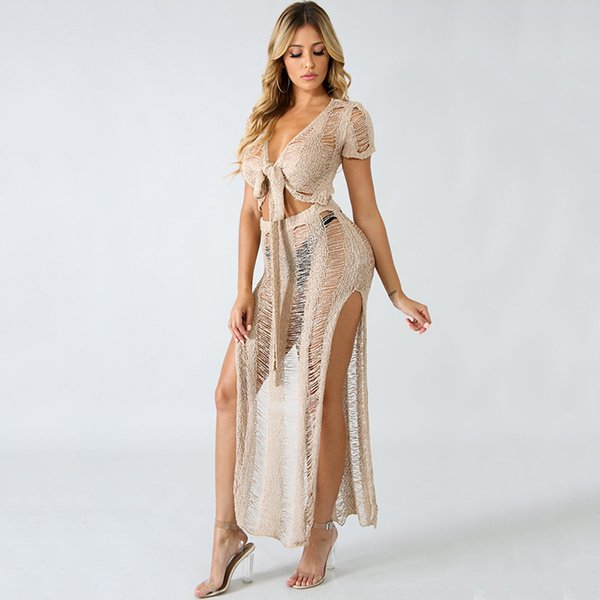 Women Two-piece Set Sheer Knitted V Neck Bandage Crop Top Bodycon Slim Split Long Skirt Solid Suits Party Rave Streetwear Sets Y19042901