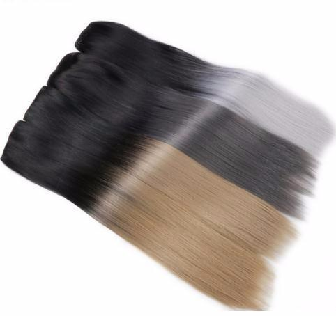 """24""""long Straight 5 Clips In Black To Blonde Or Grey Heat Resistant Synthetic Hair Extensions Clip In Weave"""