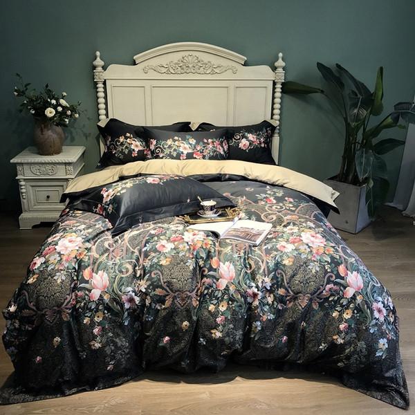 Floral print Egyptian Cotton Duvet Cover Bed set Luxury Bedding Set King Queen size Bed sheets parure de lit ropa de cama