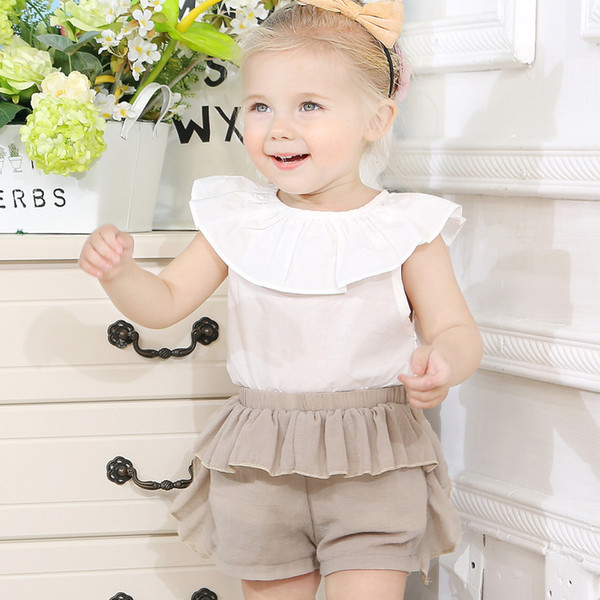 2019 kids clothes Baby girl suit baby snow sleeveless shirt + large PP pGirls suit summer new baby lotus leaf collar shirt + wrinrint shorts