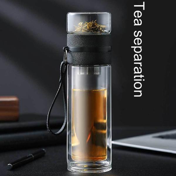Portable eau thé en verre transparent tasse de thé Bouteille avec séparée Coupe haute température tasse d'eau créative H99F CJ191225