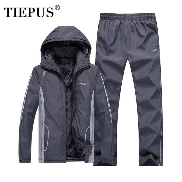 TIEPUS Winter Tracksuits Men's Set Thicken Fleece Jacket + Pants Suit Sweatshirt Hoodie Mens Sporting Suits size L~4XL 5XL