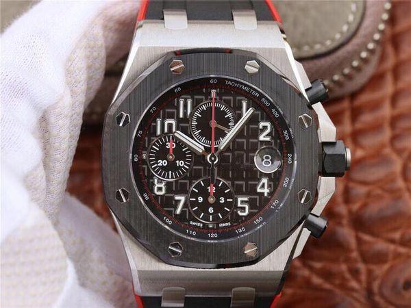 JF luxo relógio 3126 movimento mecânico automático com preto e vermelho cinto de borracha função calendário calendário impermeável mens relógios de grife