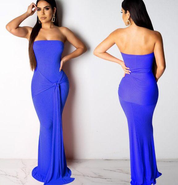 2019 ücretsiz kargo, yeni Avrupa ve Amerikan bayanlar moda rahat çukur hattı sarma göğüs 5 renk elbise
