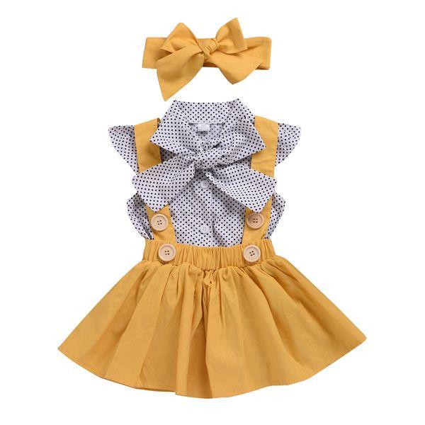 Yaz Çocuklar Kızlar Nokta Elbiseler Askı Etek Bebek Kız Parti Yay Sundress Kısa Kollu Retro Elbise Çocuk Kız Giyim Moda Butik