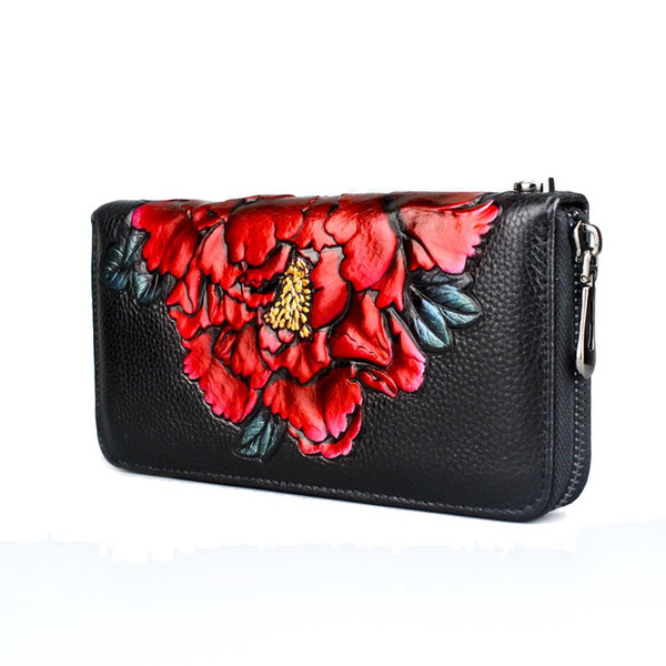 Women Wallets Genuine Leather Women Wallet Luxury Designer Brand Embossing Zipper Fashion Flower Long Wallet Portafoglio Di Lusso