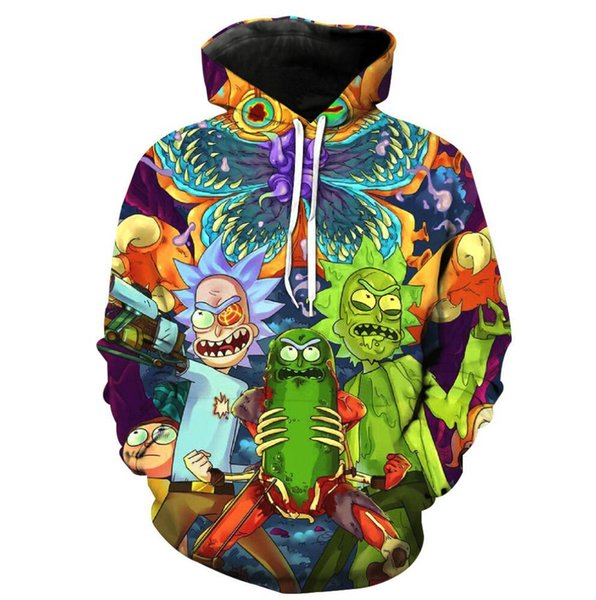 2019 Mode Hip Hop 3d Hoodies Hot Cartoon Rick und Morty gedruckt Frauen / Männer Hoody Streetwear Kapuzen-Sweatshirts 3XL