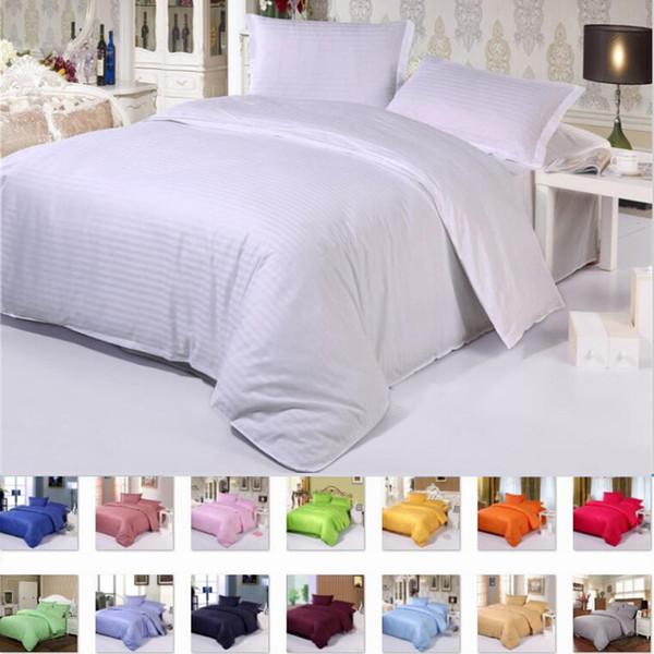 Luxus Star Hotel Reine Farbe Baumwolle Bettwäsche-Sets Flach / Spannbetttuch Sets Bettwäsche Satin Bettbezug / blatt / kissenbezug 4 stücke