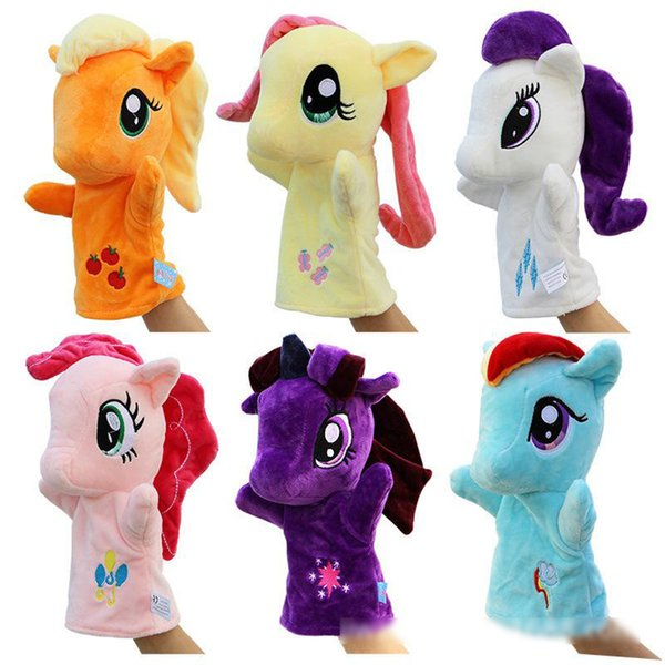 6 Colors Cute Pony Hand Puppet Baby Kids Ponies Plush Hand Game Playing Toys stuffed animals Cartoon Novelty pony Items kids toys