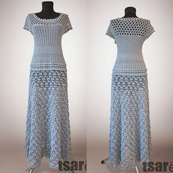 Crochet dress Samantha. Elegant White evening or special occasion maxi organic cotton wedding crochet dresses
