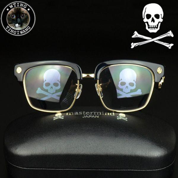 New Steampunk Square Eyeglasses Uomo Skull Logo Black Coating Gold Glasses Frame Uomo Designer di marca MMJ Mastermind Eyewear Retro gafas de sol