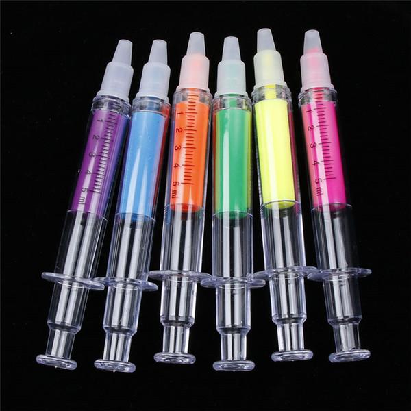 Şırınga Şekli Fosforlu Kalem Yaratıcı Hemşire İğne Planlayıcısı Dizüstü DIY Işaretleme Fosforlu Kalemler Okul Malzemeleri 42 adet / grup