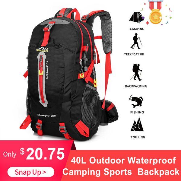 40L Outdoor Waterproof Backpack Camping Sports Bag Water Resistant Travel Backpack Hiking Laptop Daypack Trekking Climb Back Bag