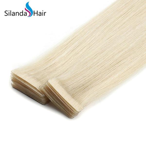 Silanda Hair Blonde # 613 Straight PU Skin Weft Hair Extension Remy Cinta adhesiva para el cabello en extensiones 20 Unids / pack Envío gratis