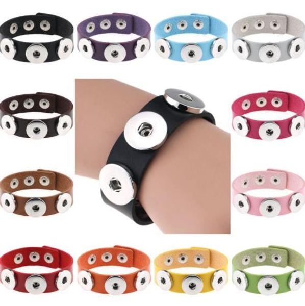 Wholesale Snap Button Bracelet Bangles 14 color High quality PU leather Bracelets For Women 18mm Snap Button Jewelry