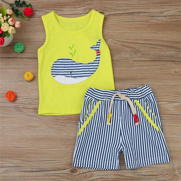 2PCS Baby Sets Newborn Baby Boys Girls Sleeveless Cartoon Whale Print Top+Striped Shorts Sets Clothes Suit For 6-24M M8Y07