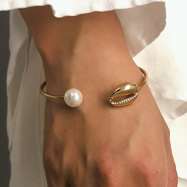Gold Color Cowrie Shell Bracelets for Women Pearl Beads Charm Cuff Opening Bracelet Bohemian Beach Jewelry Mujer Pulseras