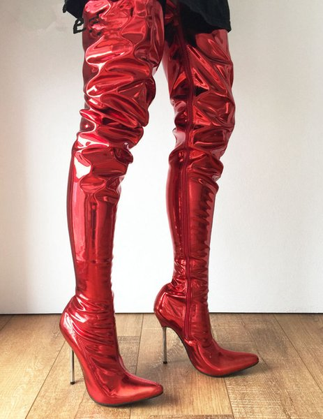 Women Pointed Toes Silver Metal Stiletto Shoes 12Cm High Heels 60Cm Thigh High Dance Show Long Boot Uniseex Metallic Red Customize